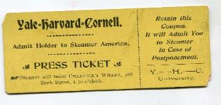 1898 Cornell Harvard Yales Rowing Regatta Ticket